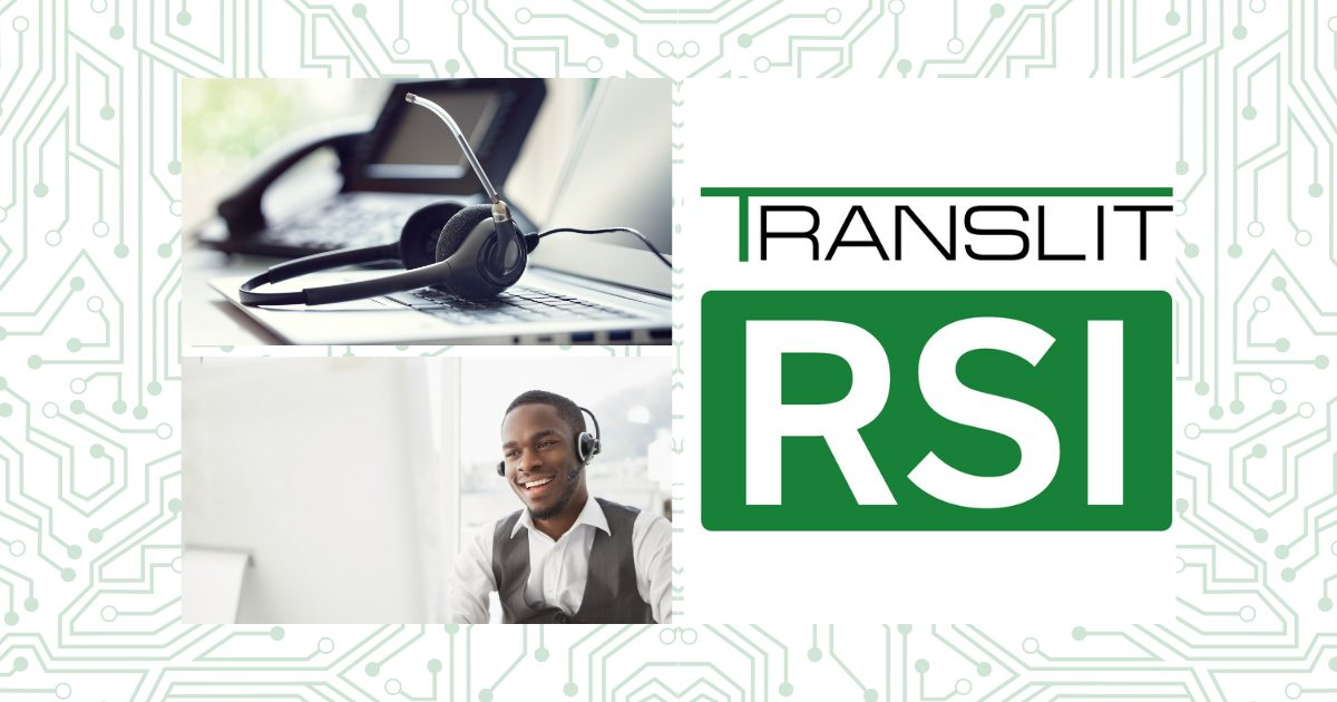 Headphone on Laptop with a man talking to his client and TRANSLIT RSI logo