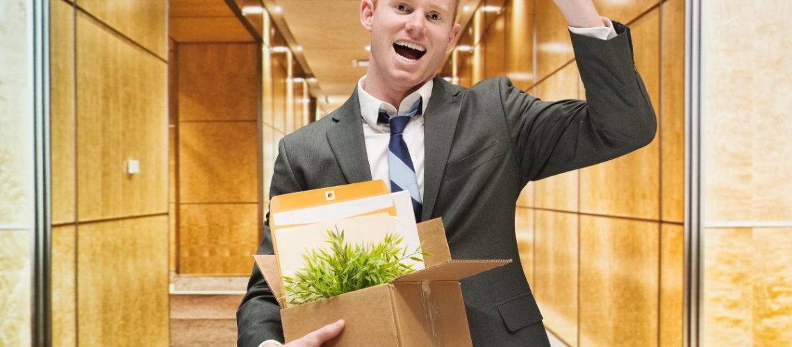 Employee happily leaving the company