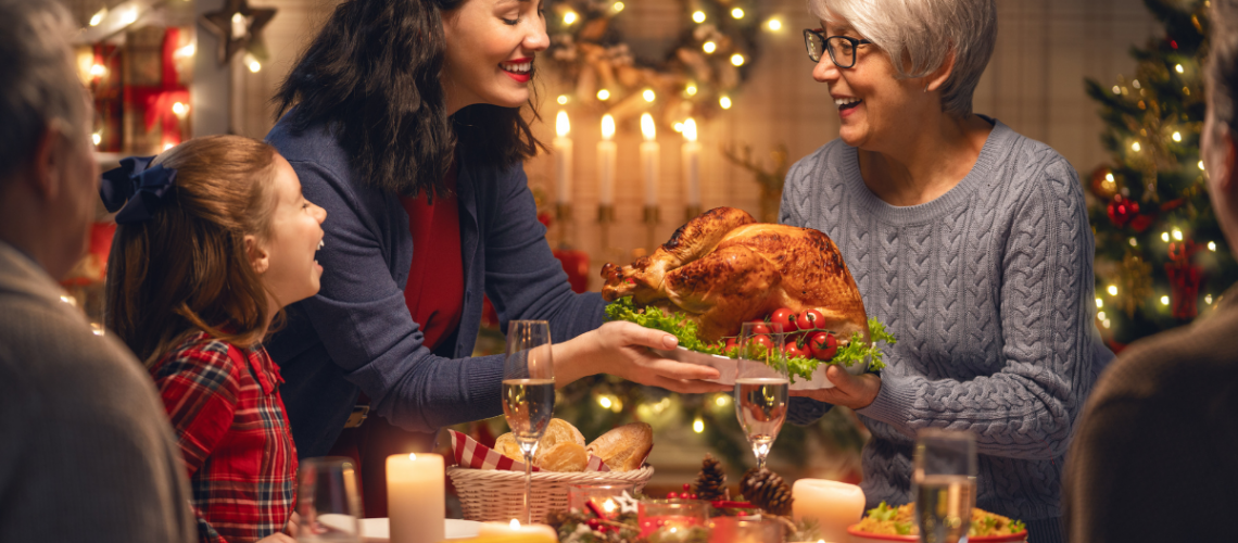 Family around Dinner Table celebrating Holiday